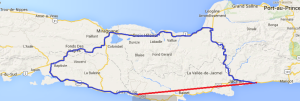 """The red line shows the """"as the crow flies"""" route. The blue shows the route we had to take. Never trust maps of Haiti, as the routes shown may not be passable in a vehicle."""